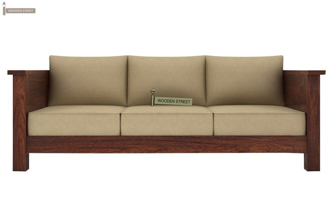 Agnes 3 Seater Wooden Sofa (Walnut Finish)-2