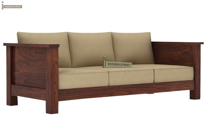 Agnes 3 Seater Wooden Sofa (Walnut Finish)-1