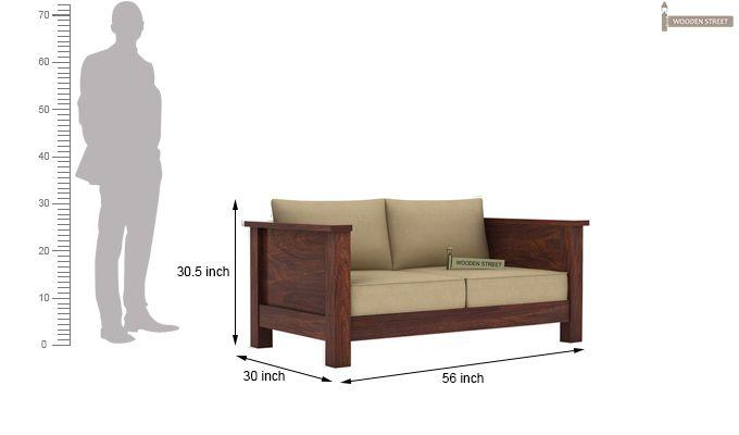 Agnes 2 Seater Wooden Sofa (Walnut Finish)-3