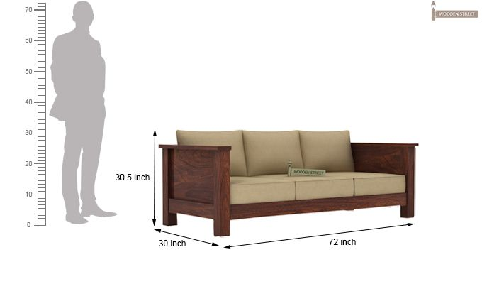 Agnes 3 Seater Wooden Sofa (Walnut Finish)-3