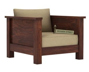 Agnes 1 Seater Wooden Sofa (Walnut Finish)