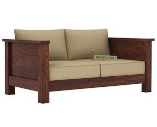 Agnes 2 Seater Wooden Sofa (Walnut Finish)