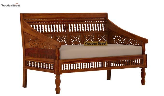 Alanis 2 Seater Wooden Sofa (Honey Finish)-2