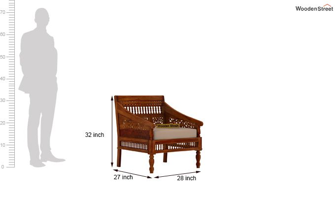 Alanis 1 Seater Wooden Sofa (Honey Finish)-4