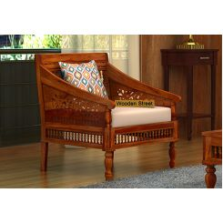 Alanis 1 Seater Wooden Sofa (Honey Finish)