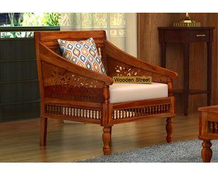 Alanis 1 Seater Wooden Sofa (Honey Finish)