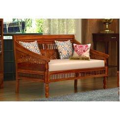 Alanis 2 Seater Wooden Sofa (Honey Finish)