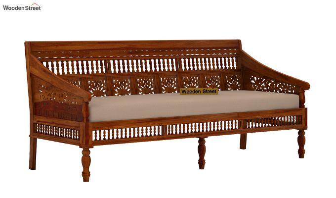 Alanis 3+2 Seater Wooden Sofa (Honey Finish)-2