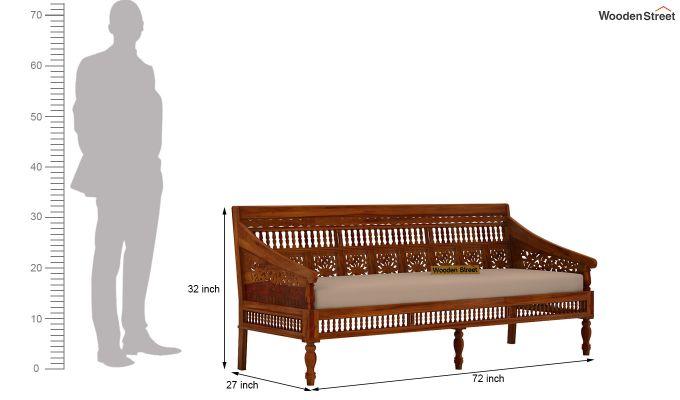 Alanis 3+2 Seater Wooden Sofa (Honey Finish)-6