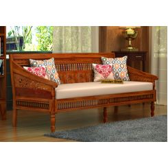 Alanis 3 Seater Wooden Sofa (Honey Finish)