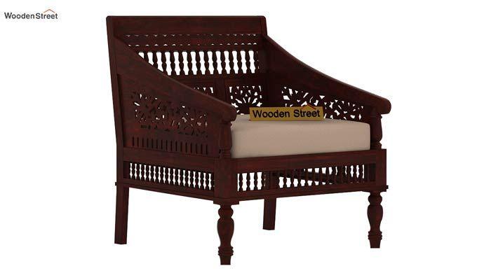Alanis 1 Seater Wooden Sofa (Mahogany Finish)-1