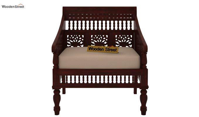 Alanis 1 Seater Wooden Sofa (Mahogany Finish)-2