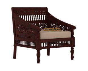 Alanis 1 Seater Wooden Sofa (Mahogany Finish)