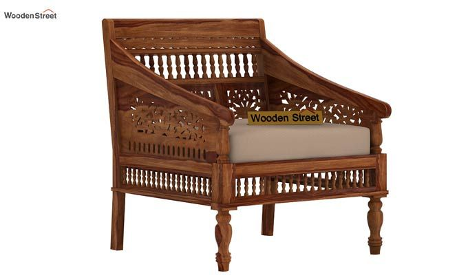 Alanis 1 Seater Wooden Sofa (Teak Finish)-1