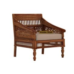 Alanis 1 Seater Wooden Sofa (Teak Finish)