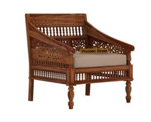 Alanis 1 Seater Wooden Sofa (Teak Finish)