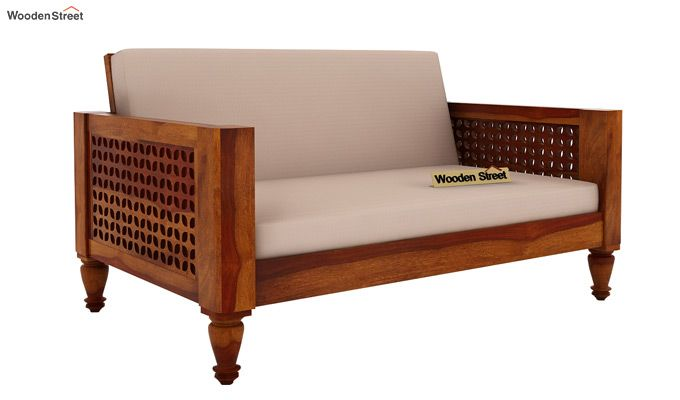 Angelica 2 Seater Wooden Sofa (Honey Finish)-1