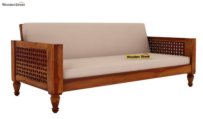 Angelica 3+1+1 Seater Wooden Sofa (Honey Finish)-2