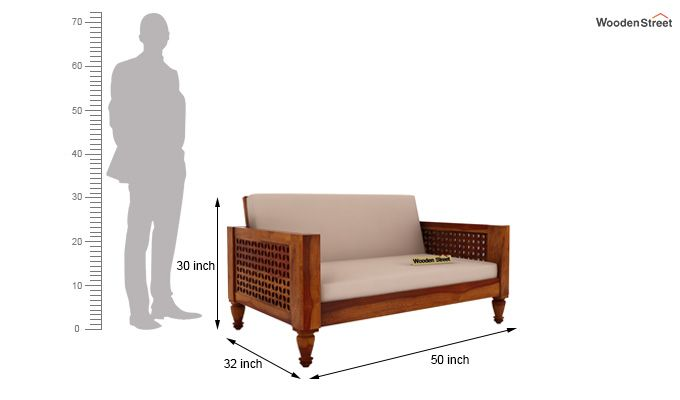 Angelica 2 Seater Wooden Sofa (Honey Finish)-4