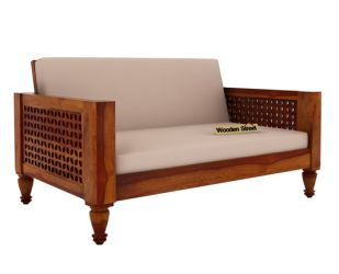 Angelica 2 Seater Wooden Sofa (Honey Finish)