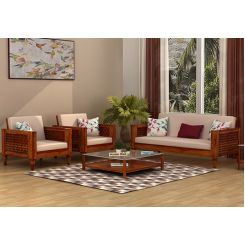 Angelica 3+1+1 Seater Wooden Sofa (Honey Finish)