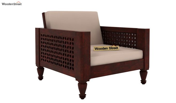 Angelica 1 Seater Wooden Sofa (Mahogany Finish)-1