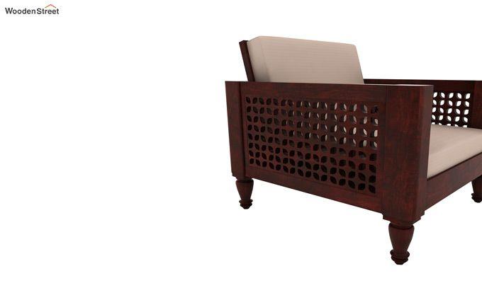 Angelica 1 Seater Wooden Sofa (Mahogany Finish)-3