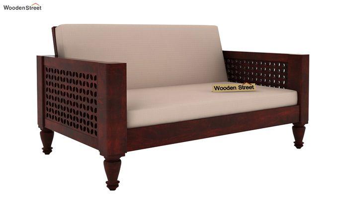 Angelica 2 Seater Wooden Sofa (Mahogany Finish)-1