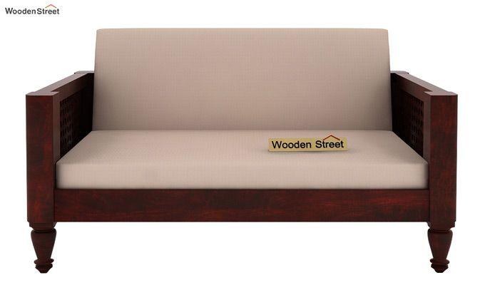 Angelica 2 Seater Wooden Sofa (Mahogany Finish)-2