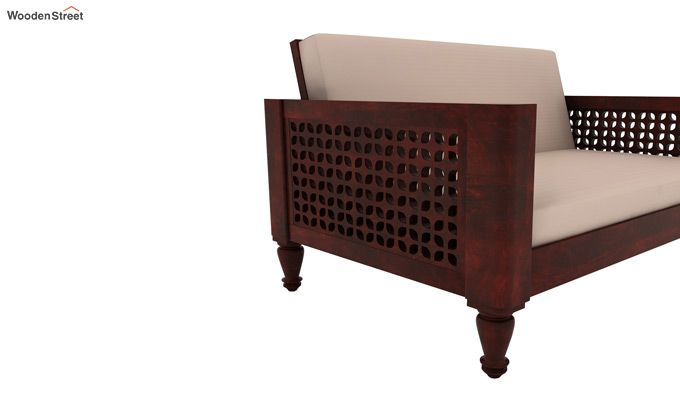 Angelica 2 Seater Wooden Sofa (Mahogany Finish)-3
