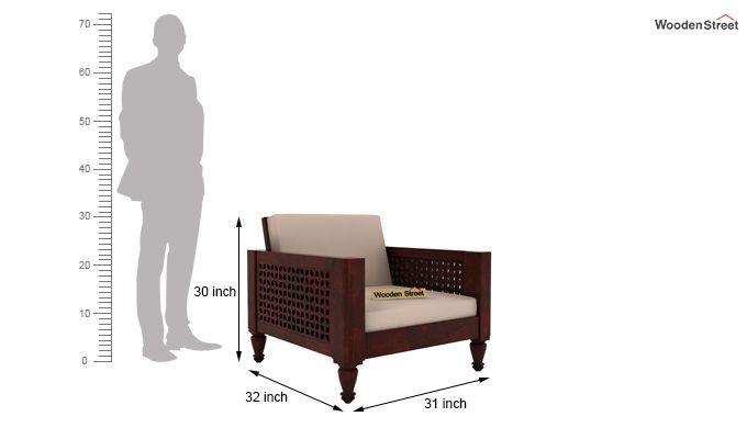 Angelica 1 Seater Wooden Sofa (Mahogany Finish)-4