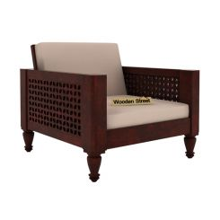 Angelica 1 Seater Wooden Sofa (Mahogany Finish)