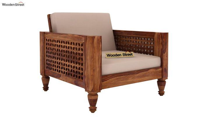 Angelica 1 Seater Wooden Sofa (Teak Finish)-1