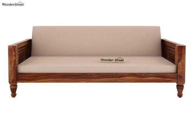 Angelica 3 Seater Wooden Sofa (Teak Finish)-2