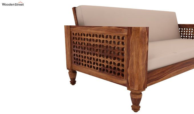 Angelica 3 Seater Wooden Sofa (Teak Finish)-3