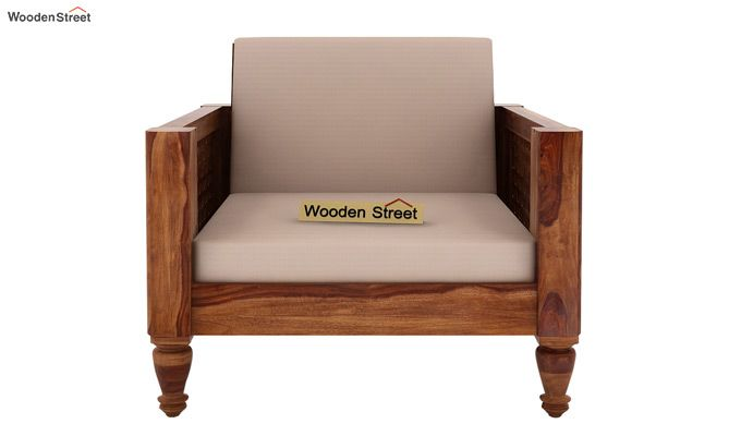 Angelica 1 Seater Wooden Sofa (Teak Finish)-2