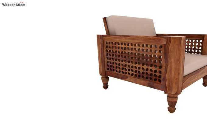 Angelica 1 Seater Wooden Sofa (Teak Finish)-3