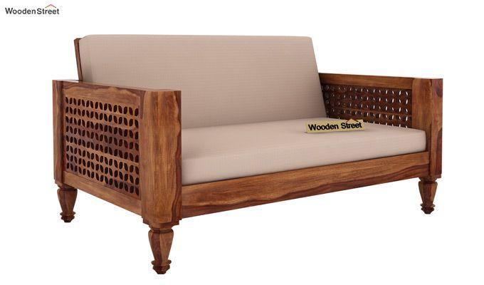 Angelica 2 Seater Wooden Sofa (Teak Finish)-1