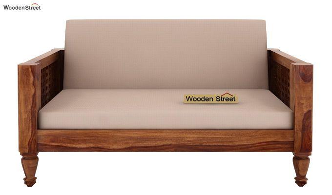 Angelica 2 Seater Wooden Sofa (Teak Finish)-2