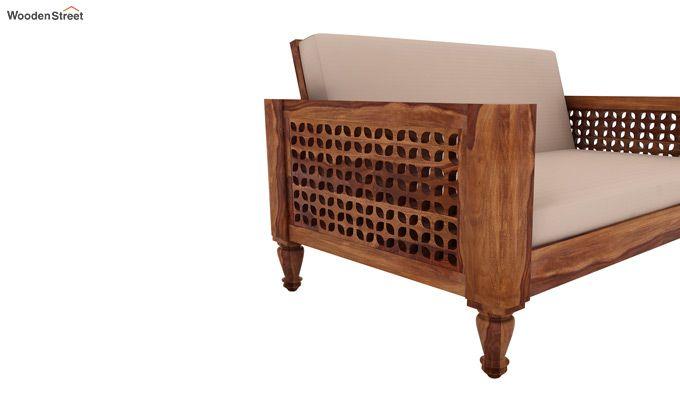 Angelica 2 Seater Wooden Sofa (Teak Finish)-3