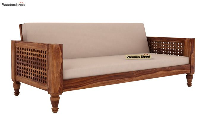Angelica 3 Seater Wooden Sofa (Teak Finish)-1