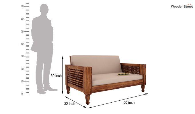 Angelica 2 Seater Wooden Sofa (Teak Finish)-4