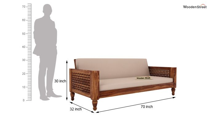Angelica 3 Seater Wooden Sofa (Teak Finish)-4