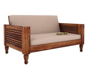 Angelica 2 Seater Wooden Sofa (Teak Finish)
