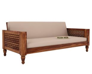 Angelica 3 Seater Wooden Sofa (Teak Finish)