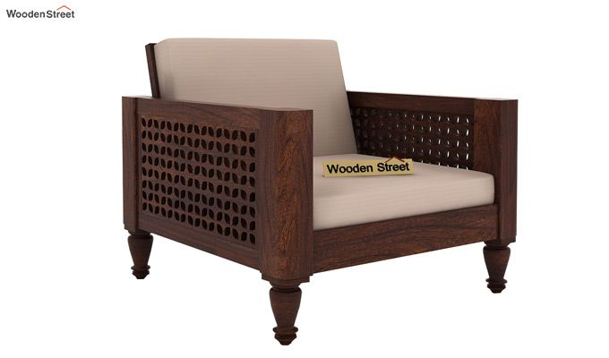 Angelica 1 Seater Wooden Sofa (Walnut Finish)-1