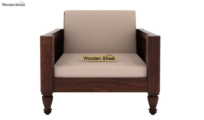 Angelica 1 Seater Wooden Sofa (Walnut Finish)-2