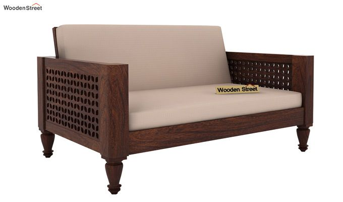Angelica 2 Seater Wooden Sofa (Walnut Finish)-1