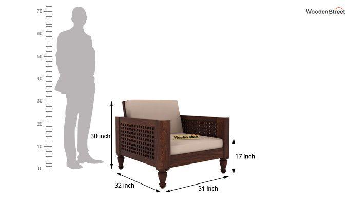 Angelica 1 Seater Wooden Sofa (Walnut Finish)-4