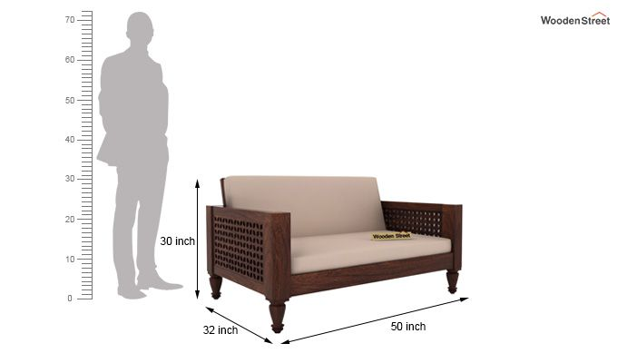 Angelica 2 Seater Wooden Sofa (Walnut Finish)-4